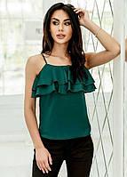 Шелковая женская блузка с воланами на груди