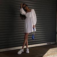 Жіноче літнє плаття з квадратним вирізом і широкими рукавами