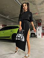 Красиве літнє плаття з розрізом від стегна і поясом