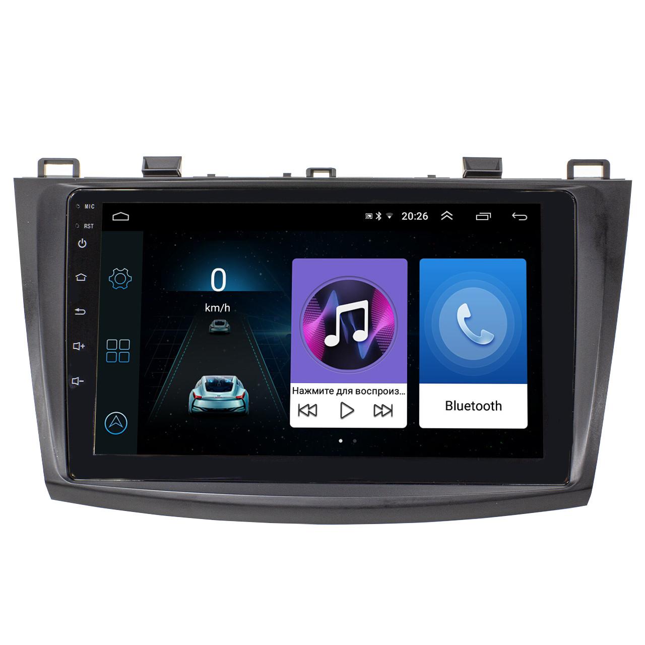 "Штатная магнитола для автомобиля Mazda 3 (2009-2013) 9"" сенсор 1/16 Гб GPS навигация FM USB вход Wi Fi"