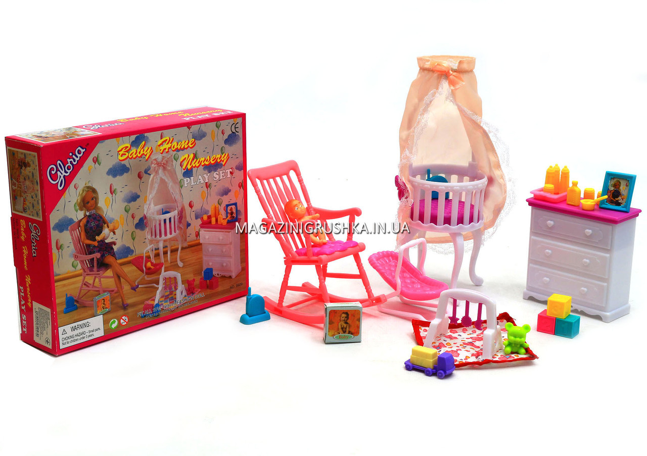 Детская игрушечная мебель Глория Gloria для кукол Барби Детская комната 9929. Обустройте кукольный домик