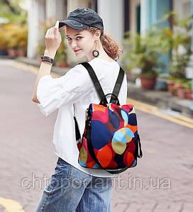 Рюкзак сумка антивор женский городской Эксклюзив цветной Код 10-0105