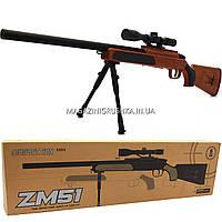 Снайперская винтовка «Airsoft Gun», темно-коричневая, 110 см, дальность стрельбы 50 м, скорость 80 м/с (ZM51)