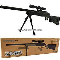 Снайперская винтовка «Airsoft Gun», Зелёная, 110 см, дальность стрельбы 50 м, скорость 80 м/с (ZM51)