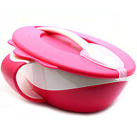 Тарілка-миска Canpol Babies Рожевий з зручною ручкою, кришкою і ложкою (31/406), фото 1