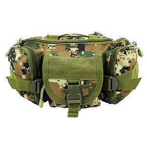 Сумка тактична на пояс AOKALI Outdoor D05 Camouflage Green армійська 6L