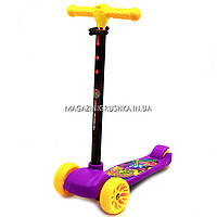 Самокат триколісний дитячий A2602V (ПУ колеса, тихі, що світяться, з ліхтариком на кермі). Самокат для дітей, фото 1