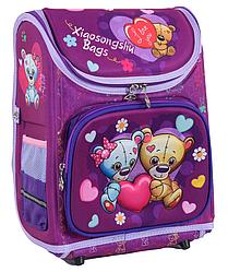 Рюкзак школьный каркасный Мишки с ортопедической спинкой