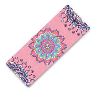 Килимок для йоги та фітнесу Dingming YZS-16 Квітка Pink