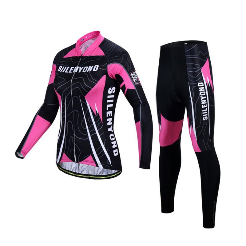 Костюм вело женский Siilenyond SW-CT-057 Black Pink L Полосы длинный рукав штаны