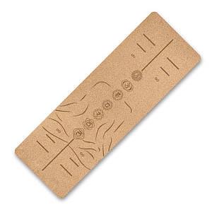 Килимок для фітнесу і йоги TPE пробка Dingming YZS-17 1830*610*6mm Чакри на силуете