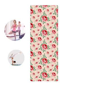 Килимок для фітнесу і йоги Meileer rubb-22 Червоні квіти 1830*680*4mm йогамат для вправ