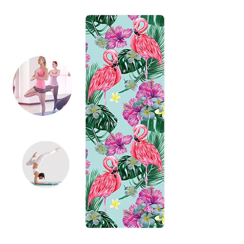 Коврик для фитнеса и йоги Meileer rubb-22 Фламинго 1830*680*4mm йогамат для упражнений