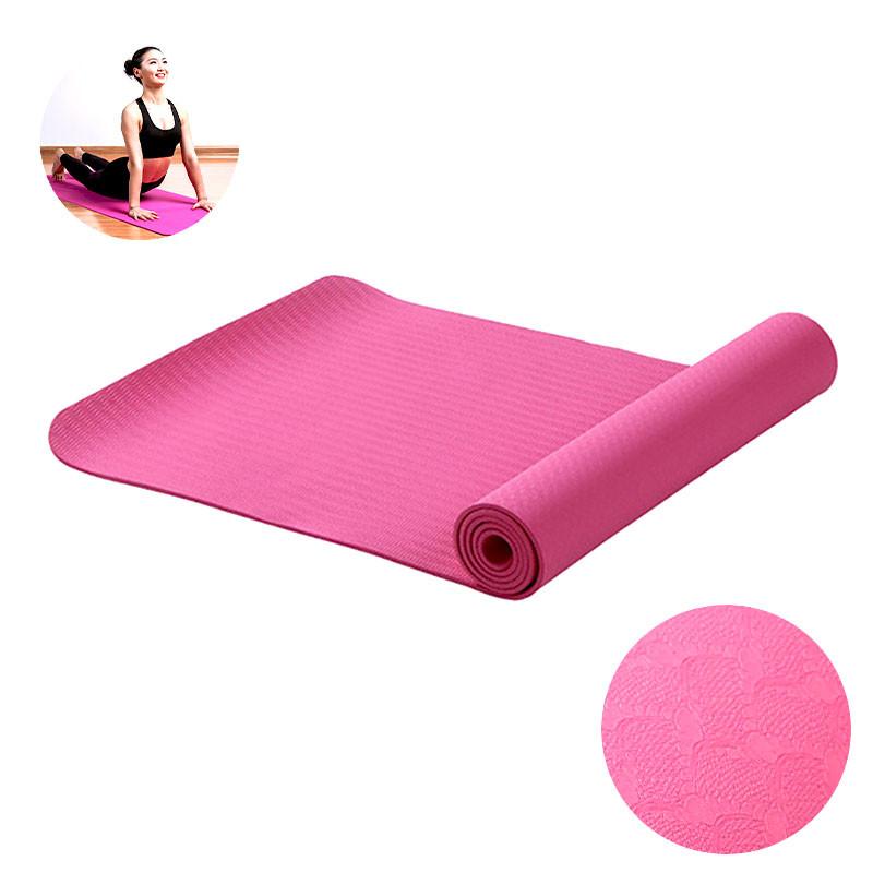 Килимок для фітнесу і йоги Meileer tpe-23 Pink 1830*610*6mm TPE двошаровий йогамат