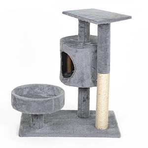 Когтеточка-домик для кота Hoopet 14T0055MZ Grey дряпка лежанка