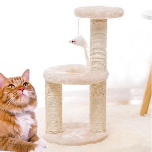 Когтеточка для кота с полками и игрушкой Taotaopets 0072203 Beige дряпка