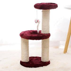 Когтеточка для кота с полками и игрушкой Taotaopets 0072203 Burgundy дряпка