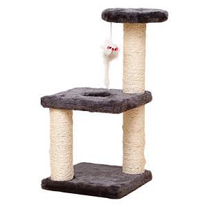 Когтеточка для кота Taotaopets 072204 Coffee 20*20*40см с полками и игрушкой