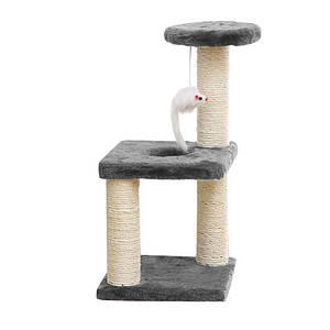 Когтеточка для кота Taotaopets 072204 Gray 20*20*40см с полками и игрушкой