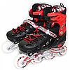 Детские ролики красно-черные (размер 31-34, металл, светящиеся колёса ПУ) 1352221228-s