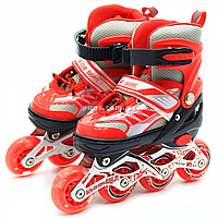 Детские ролики красные (размер 28-33, металл, светящиеся колёса ПУ) 1343975601-s, фото 1