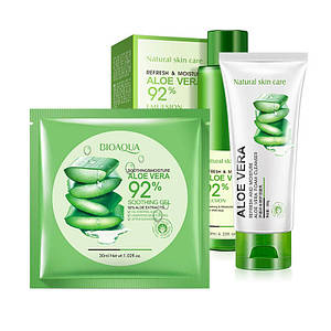 Набір для особи BIOAQUA Aloe Vera 92% Toner Cleanser Mask домашній догляд за шкірою