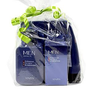 Набір чоловічої косметики для догляду Venzen Men 5 в 1 для контролю жирності в подарунковій упаковці Оригінал