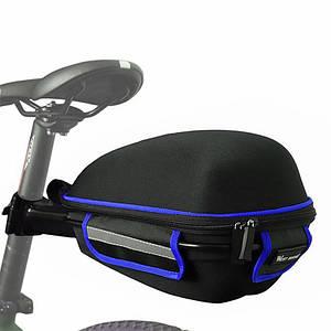 Багажник под седло West Biking 0707151 Black + Blue для велосипеда с отражателями + чехол
