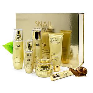 Подарунковий набір по догляду за обличчям BIOAQUA Snail Repair&Brightening з муцином равлики підтяжка обличчя Оригінал