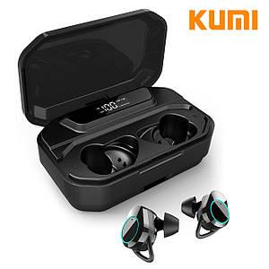 Bluetooth гарнітура KUMI T3S Black з зарядним пристроєм Блютуз 5.0 бездротові навушники 3300mAh
