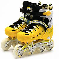Детские ролики Желтые (размер 35-38, металл, светящиеся колёса ПУ) LF905M, фото 1
