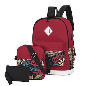 Рюкзак 3 в 1 Lesko LP1931 Червоні листя з сумкою і гаманцем повсякденна сумка жіноча 30L