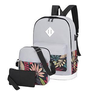 Рюкзак 3 в 1 Lesko LP1931 Сірі листя з сумкою і гаманцем повсякденна сумка жіноча 30L