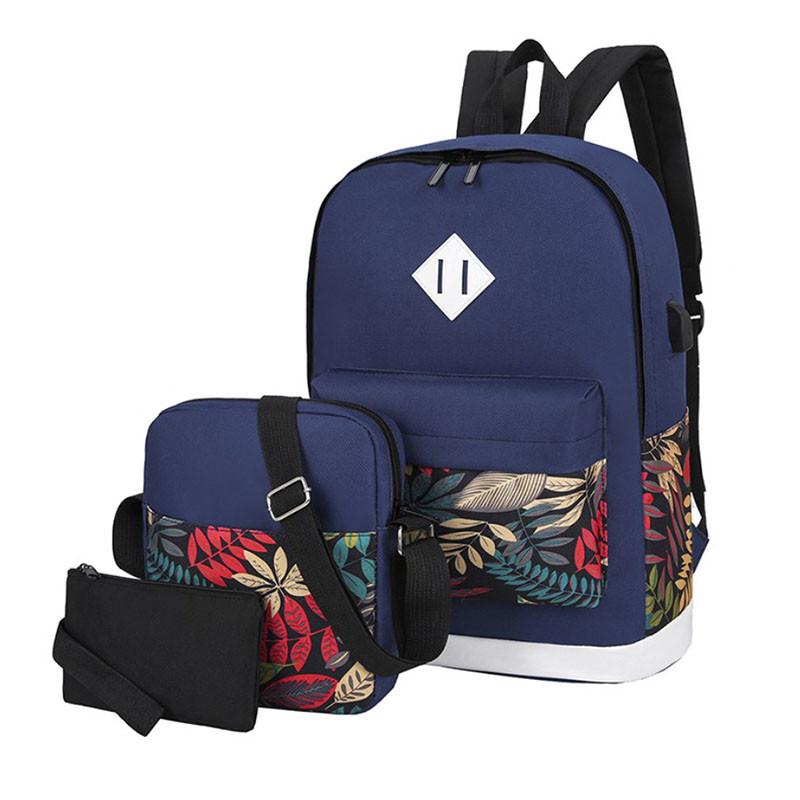 Рюкзак 3 в 1 Lesko LP1931 Сині листя з сумкою і гаманцем повсякденна сумка жіноча 30L