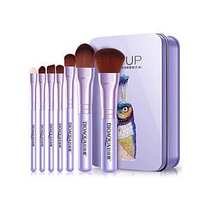 Набор кистей BIOAQUA Make UP Beauty в металлическом футляре Павлин Фиолетовый 7 шт