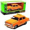Машинка іграшкова Автопром «1: 32-36 ГАЗ-21» метал, 14 см, жовтий таксі, світло, звук, двері відчиняються (7508)