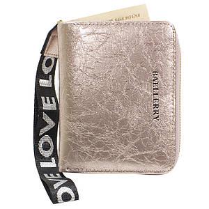 ★Жіночий гаманець Baellerry DR022 Rose Gold компактний з ремінцем на блискавці голографічний гаманець