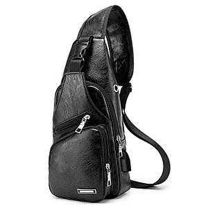 Рюкзак через плече Haodier Jeep Black USB-сумка зарядка спортивна чоловіча повсякденна