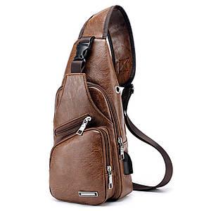 Рюкзак Haodier Jeep Brown через плече зарядна сумка з USB чоловіча повсякденного використання