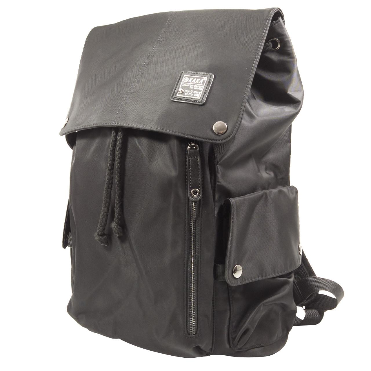"""Рюкзак городской KAKA 2209 Black для ноутбука 15.6"""" водоотталкивающий кнопки+затягивающие шнурки мужской"""
