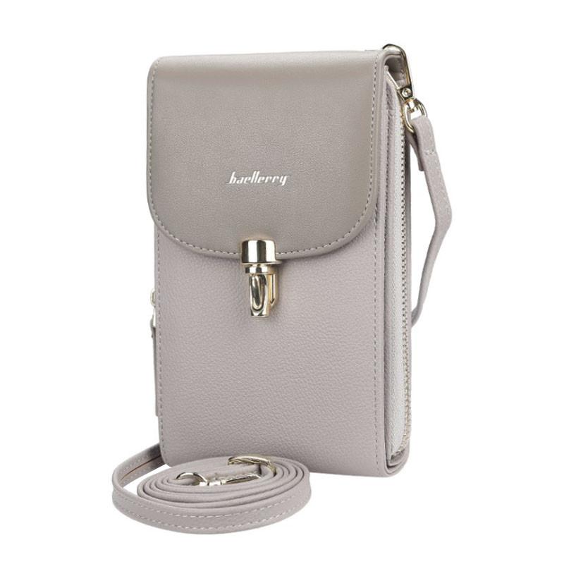 Жіночий гаманець-сумка Baellerry N8593 Gray вертикальна на плече тренд сезону для дівчат жінок