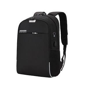 Мужской рюкзак городской Lesko LP-822 Black с зарядкой от USB замком для ноутбука учебы