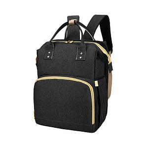 Сумка рюкзак Lesko 2 в 1 Black для мам і складна ліжечко для малюка портативна міська
