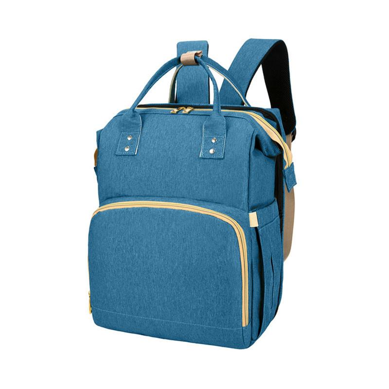 Сумка рюкзак Lesko 2 в 1 Blue для мам і складна ліжечко для малюка портативна міська