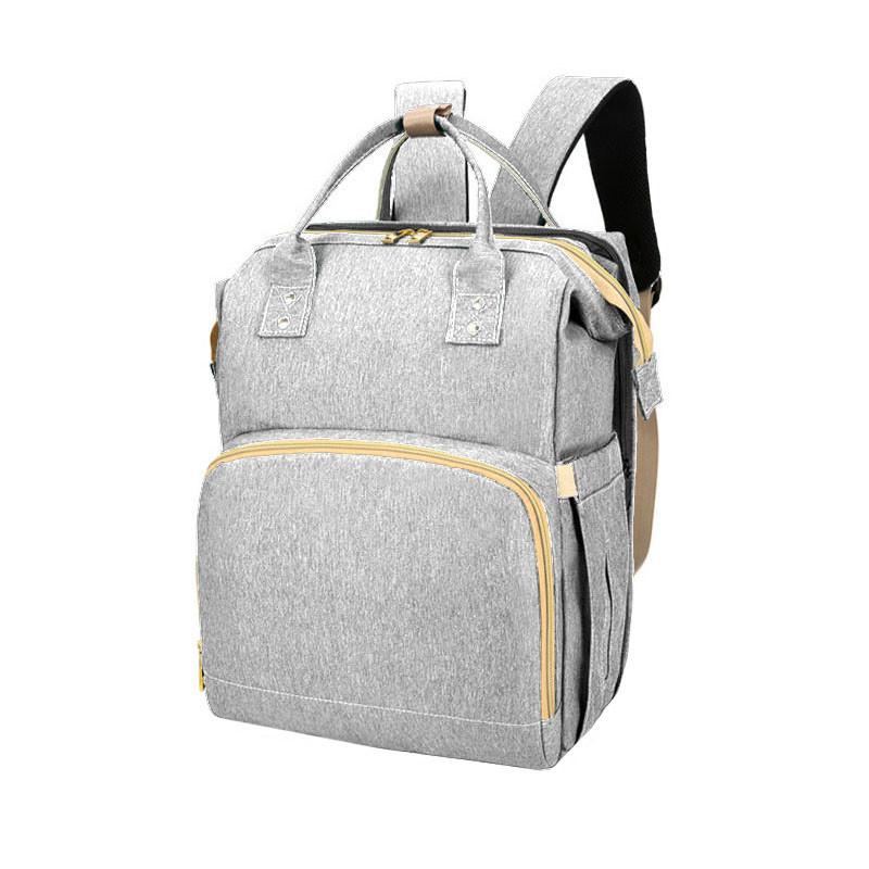 Сумка рюкзак Lesko 2 в 1 Gray для мам і складна ліжечко для малюка портативна міська