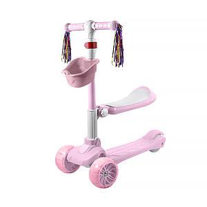 Детский самокат Lesko BAQ-518 Розовый трехколесный с сиденьем светящимися колесами для девочки