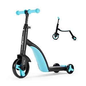 Детский самокат Nadle TF3-1 Голубой велобег велосипед трехколесный для мальчика девочки 3в1 с сиденьем