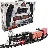 Железная дорога «Эра паровозов», 15 элементов, 138х87 см, световые и звуковые эффекты (YY-097)