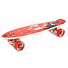 Пенни борд (скейт) с бесшумными светящимися колесами, ручка (красная акула) 70822