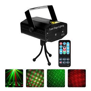 Лазерный проектор EKOOT AY-01 для дискотек шоу концертов цветомузыка пульт ДУ